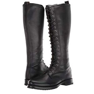 FRYE Lace Up Knee High Combat Boots Black NEW